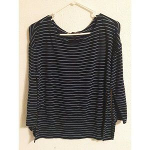 Loft Small black and blue striped 3/4 sleeve blouse 34x22